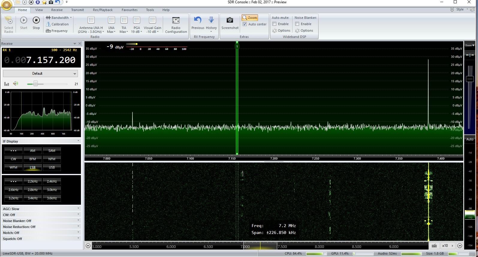 LimeSDR under SDR-Console - LimeSDR - Myriad RF Discourse