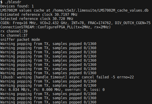 BLE sniffer tool - LimeSDR - Myriad RF Discourse