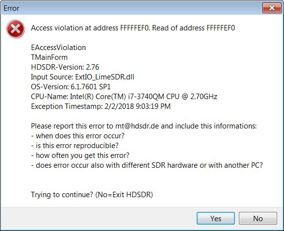 ExtIO_LimeSDR dll not working in HDSDR - LimeSDR - Myriad RF