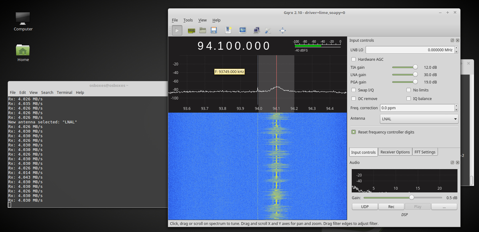 LimeSDR with Gqrx is working! - LimeSDR - Myriad RF Discourse